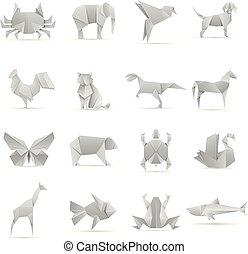 dieren, verzameling, creatief, vector, aziaat, origami