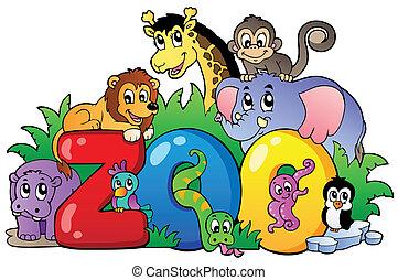 dierentuin, meldingsbord, met, gevarieerd, dieren