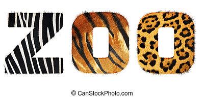 dierentuin, woord, van, vacht, alphabet., vrijstaand, op wit, achtergrond., met, af)knippen, path.