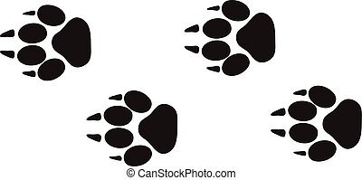 dierlijke voet, afdrukken, en, voetspooren, vrijstaand, stappen, sporen, op wit, voor, fauna, conceptontwikkeling, vector.