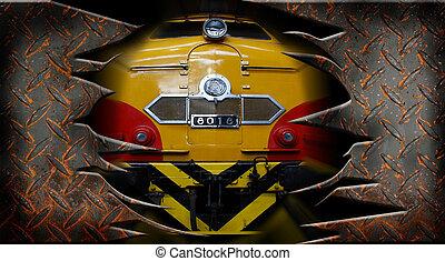 diesel electric locomotive through a metal wall