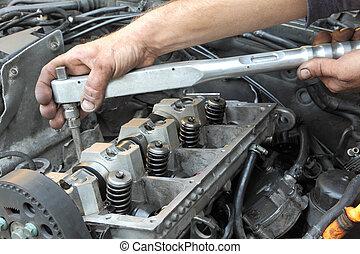 Diesel engine - Repairing of modern diesel engine, workers...