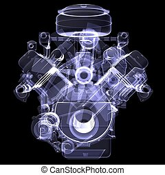 Diesel engine. X-ray render isolated on black background