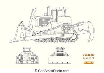 diesel, fordon, synhåll, baksida, bulldozer, isolerat, image., byggnad, teckning, främre del, style., digger., sida, dozer., blåkopia, industriell, skissera, maskiner
