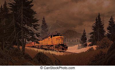 diesel, locomotive, dans montagnes