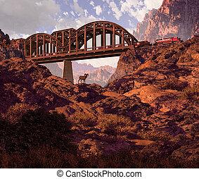 Diesel Locomotive - Diesel locomotive crossing bridge over...