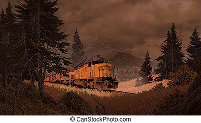 Diesel Locomotive In The Mountains - Diesel locomotive...