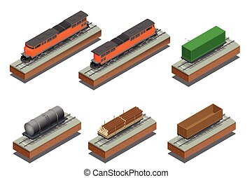 Diesel Locomotive, Rail covered wagon, Open rail car for transportation of bulk cargoes. Vector flat 3d  isometric illustration.