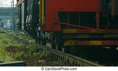 Diesel locomotive. - Steam locomotive moves on rails. Diesel...