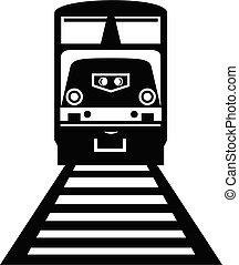 Diesel Locomotive Train Front View Retro Black and White