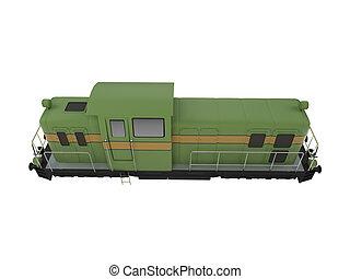 diesel, tåg, grön, isolerat