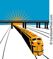 Diesel train and bridge