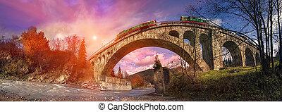 Diesel train bridge on the Austrian