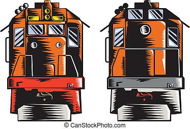diesel, train, devant, arrière, woodcut, retro