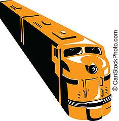 diesel, train, haut angle, retro