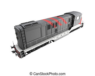 Diesel train over white