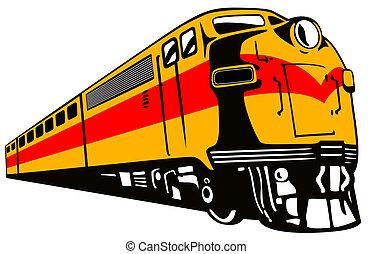 Diesel Train Retro - Illustration of a diesel train viewed...