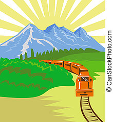 diesel train travelling with mountains