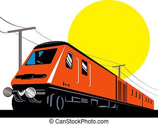 Diesel train upward view