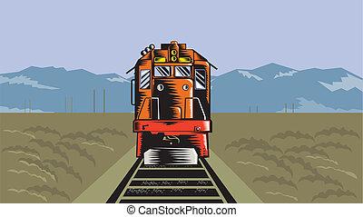 diesel, trem, ângulo alto, retro