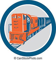 diesel, trem, círculo, retro