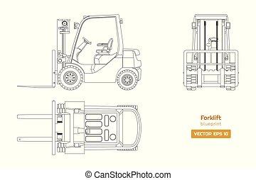 diesel, véhicule, dessin, forklift., côté, devant, image., industriel, isolé, plan, sommet, hydraulique, loader., contour, machinerie, vue.