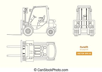diesel, vehículo, dibujo, forklift., lado, frente, image., industrial, aislado, cianotipo, cima, hidráulico, loader., contorno, maquinaria, vista.