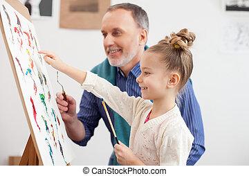 diestro, enseñanza, niño, viejo, artista