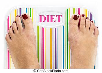 """diet"", échelle salle bains, mot, cadran, pieds"