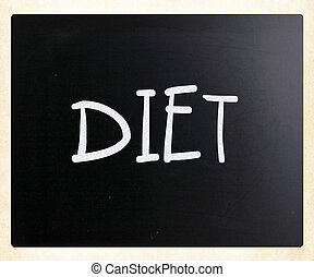 """diet"", классная доска, белый, мел, рукописный"