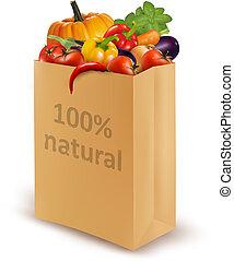 diet., 自然, 紙, 百分之, 新鮮, 袋子, 充分, 矢量, vegetables., 概念, 100