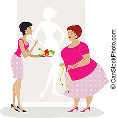 Diet advice - Vector illiustration of a lady giving diet...