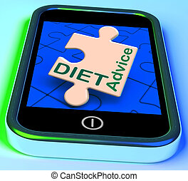Diet Advice On Smartphone Showing Advisory Text Messages