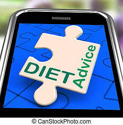 Diet Advice On Smartphone Showing Healthy Diets