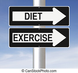 Diet and Exercise - Conceptual one way street signs...