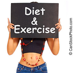 Diet And Exercise Sign Shows Weight Loss Advice