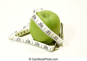 Diet - Apple with tape measure