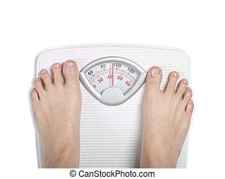 Diet bathroom scale on white