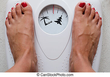 Diet Before Summer - Female feet on bathroom scale with...
