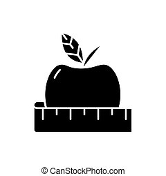 Diet black icon, vector sign on isolated background. Diet concept symbol, illustration