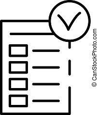 Diet checklist icon, outline style