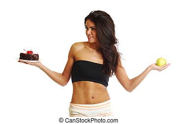 diet choice -  woman choice diet apple or cake