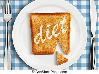 Diet concept, closeup of Table setting with fried slice of bread on plate