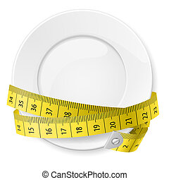 Diet concept. - Clean plate with measuring tape as diet...