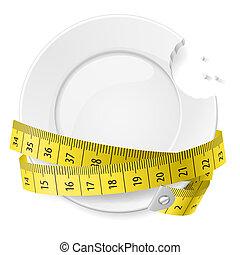 Diet concept. - Bitten plate with measuring tape. Diet...