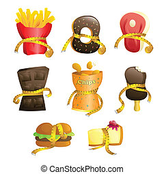 Diet concept - A vector illustration of junk food tied up...
