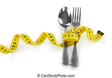 Diet concept, fork and measuring
