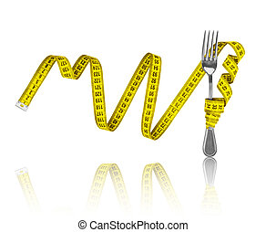 Diet concept, fork and measuring tape on an isolated white background