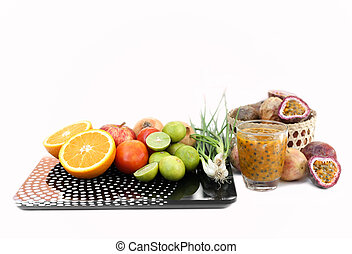 Diet concept. Fruits and vegetable with on  weight scale