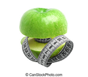 Diet concept - green apple and measuring tape